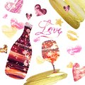 Festive Valetines day background with set of hand painted elements.Bottle of wine and wine glass Royalty Free Stock Photo