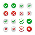 Validation buttons set of isolated on white background Royalty Free Stock Photos