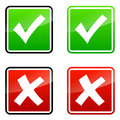 Validation icons set of accepted and rejected on white background Stock Image