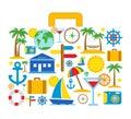 Valigia di viaggio con le icone di viaggio Fotografia Stock