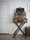 Valises de cru Photo stock