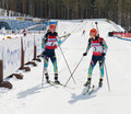 Valj and vita semerenko ukr after finish at biathlon women s tyumen russia apr km mega mass start international Stock Photo
