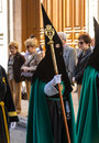 Valladolid good thursday spain – april black and green nazareno in the religious processions during holy week on on april in Stock Photos