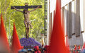 Valladolid good thursday spain – april jesuschrist sculpture in the religious processions during holy week on on april in Royalty Free Stock Image