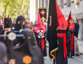 Valladolid good thursday spain – april red and black nazarenos in the religious processions during holy week on on april in Stock Photography