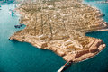 Valletta, the Capital City of Malta from view airplane harbor, capitol Royalty Free Stock Photo