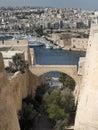 Valletta fortifications overlooking manoel island and the marsamxett harbour marina Royalty Free Stock Image