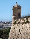 Valletta ramparts watchtower a on the corner of the defensive walls of malta Stock Photo