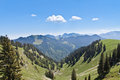 Valley in the alps panoramic view on mountains Stock Images