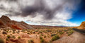 Valley of fire with dramatic sky panorama the nevada Stock Image
