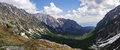 Valley panorama  in High Tatra Mountains near Rysy peak and Strb Royalty Free Stock Photo