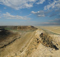 Valley on the slopes of the plateau and gorges shalkar nura in north eastern part ustyurt asia kazakhstan district irgiz Stock Photos