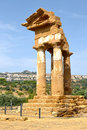 Valley of temples sicily temple the dioscuri the agrigento Stock Photos