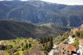 Valley under the mountains green in arachova greece Stock Photo