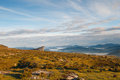 Valley view at sunrise from the top of the mountains sierra salvada spain Stock Images