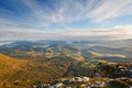 Valley view at sunrise from the top of the mountains sierra salvada spain Royalty Free Stock Image