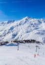 Valley view of Val Thorens. Village of Les Menuires Royalty Free Stock Photo