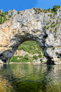 Vallon pont d arc natural rock bridge over the river in the ard is situated at threshold of one of most beautiful tourist sites of Royalty Free Stock Photography