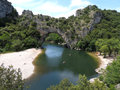 Vallon pont d arc on the river ardeche Royalty Free Stock Photos