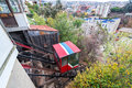 Valparaiso funicular railway named ascensor el peral leading up a hill in chile Stock Photos