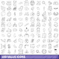 100 value icons set, outline style