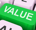 Value key shows importance or significance on keyboard showing worth Royalty Free Stock Images