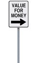 Value for money a modified one way street sign indicating Stock Images