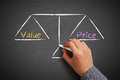 Value and price balance hand with chalk is drawing scale on the chalkboard Royalty Free Stock Image