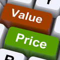Value price keys mean product quality and pricing meaning Stock Image