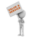 Value and service concept of little man holding the banner Stock Images