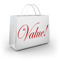Value word shopping bag special deal savings the on a to illustrate or getting your money s worth on goods or merchandise at a Royalty Free Stock Images