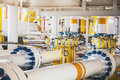Valve and pipe line in oil and gas platform offshore in gulf of Royalty Free Stock Photo