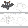 Vampire bat. Drawing worksheet. Royalty Free Stock Photo