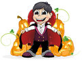 Vampire boy and jack o lanterns dressed as a on a white background Stock Images