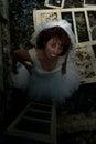 Vampire bride in creepy devastated room Royalty Free Stock Photography