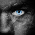 Vampire face blue eye dark portrait Royalty Free Stock Photos