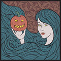 Vampire girl with a pumpkin colorful halloween vector illustration Stock Photography