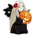 Vampire girl with pumpkin Royalty Free Stock Photo