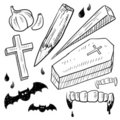 Vampire objects sketch Royalty Free Stock Image