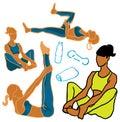 Van de vrouwenpictogrammen van de sport & van de Fitness het de gezondheidsleven Royalty-vrije Stock Foto's