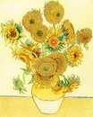 Van Gogh`s Sunflower adult coloring page Royalty Free Stock Photo