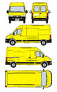Van vector illustration of yellow black with working path Royalty Free Stock Photo