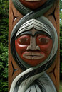 Vancouver b c canada stanley park totem pole detail Royalty Free Stock Photography