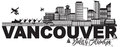 Vancouver BC Canada Skyline Text Black and White vector Illustration