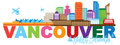 Vancouver BC Canada Skyline Text Color vector Illustration