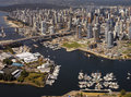 Vancouver in british columbia canada aerial view of granville harbor and bridge false creek burrard bridge and the city of western Stock Photos