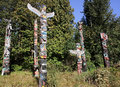 VANCOUVER, CANADA - AUGUST 24, 2016: Totem Poles, Stanley Park o Royalty Free Stock Photo