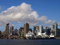 Vancouver canada cityscape with cruise ships Royalty Free Stock Image