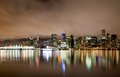 Vancouver downtown skyline at night canada bc the Royalty Free Stock Photo