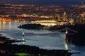 Vancouver, Lions Gate Bridge, High Angle Night Royalty Free Stock Photo